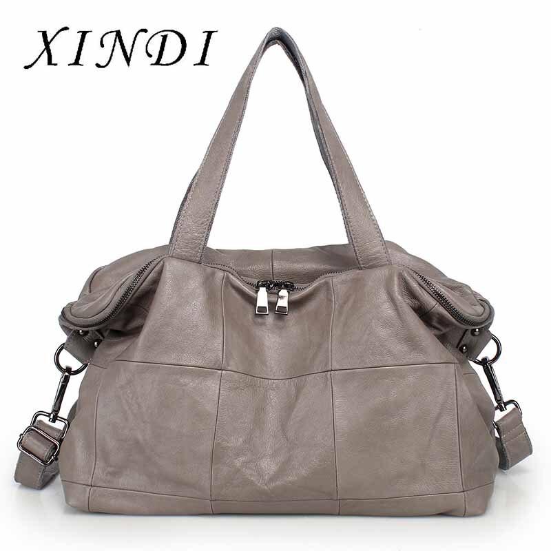 Bandoleras de piel auténtica de la marca XINDI 2018, bolso principal para mujer, bolso de lujo para mujer, Bolsos De Mujer, bolso de mujer de diseñador
