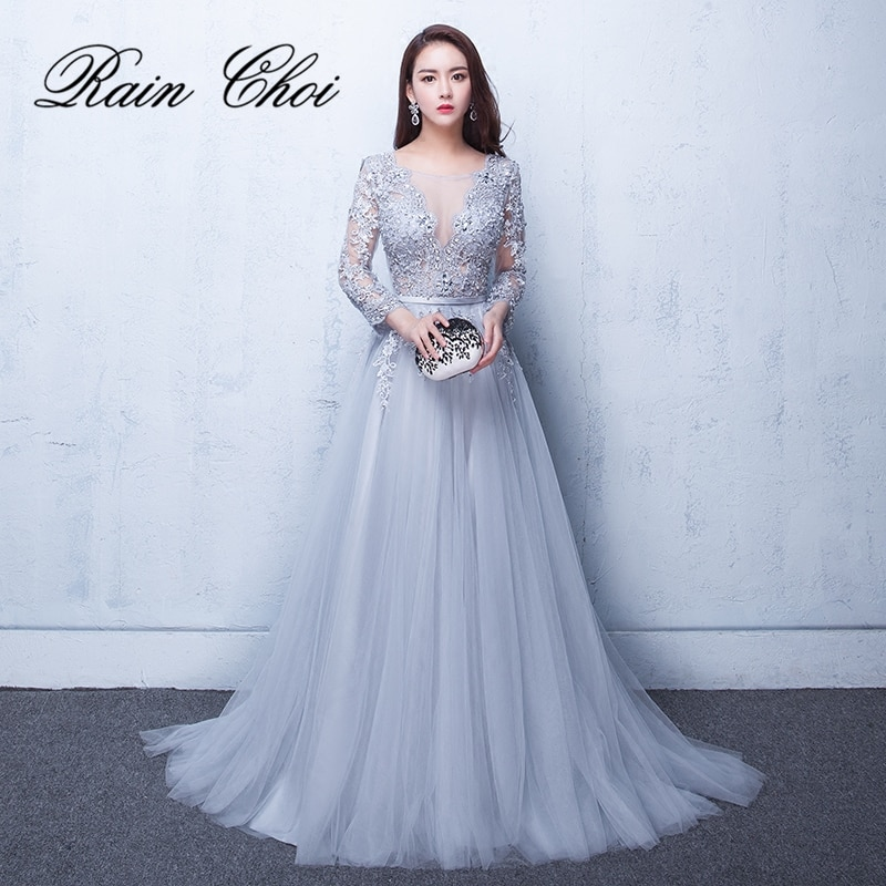 2021 Evening Dresses 3/4 Sleeves Appliques  Formal Gown Long Party Dress vestido de festa