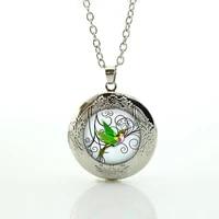 cute green hummingbird locket necklace fashion penguin cranes swan love birds pendant necklace jewelry for women wedding n731
