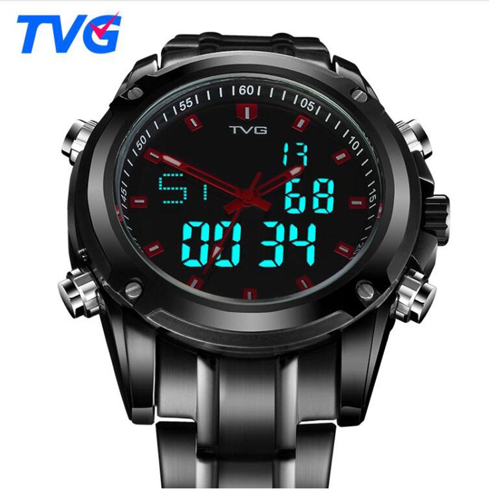 TVG Men Watches Military Sports Dual Display Quartz Watch Men Waterproof LED Digital Full Steel Wristwatch Relogio Masculino
