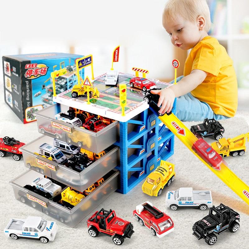 2021 новейшие детские автомобильные игрушки, стоянка, 6 шт., автомобильный ящик для хранения, дорожные знаки «сделай сам», Модель автомобильны...