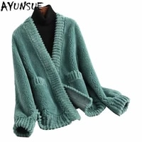 ayunsue brand winter real fur coat women clothes 2020 korean vintage casual slim shorts wool jacket elegant ladies coats 59341