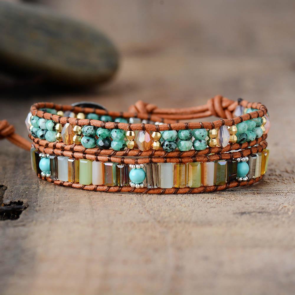 Pulsera Bohemia para mujer, piedra semipreciosa, pulsera de cuero de 7 Cristales de Color con cuentas, joyería para mujer, triangulación de envíos