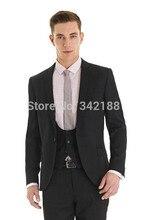 New Custom Design Side Slit One Button Black Groom Tuxedos Notch Lapel Best Man Groomsman Men Wedding Suits/cheap groom tuxedosw