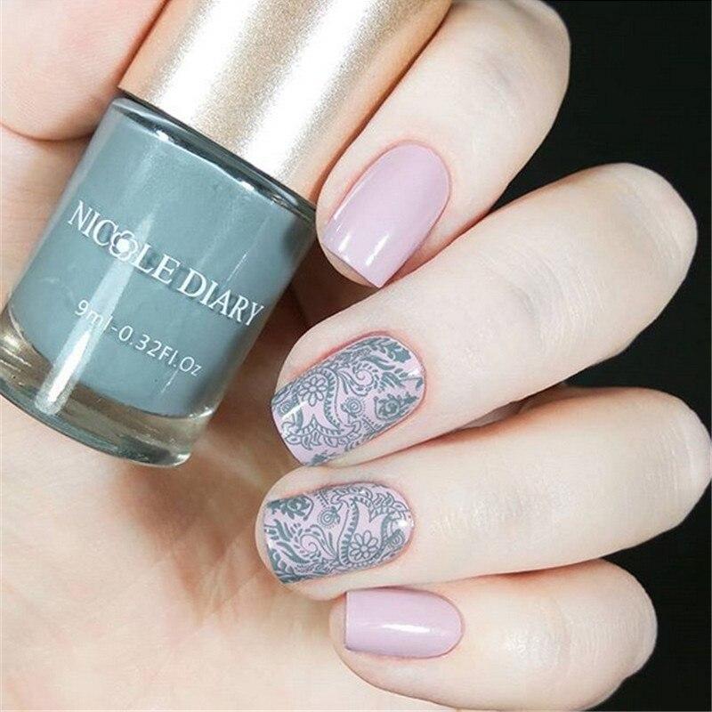 NICOLE DIARY estampado esmalte primavera serie decoración de uñas barniz 9ml consejos Color estampado pulido