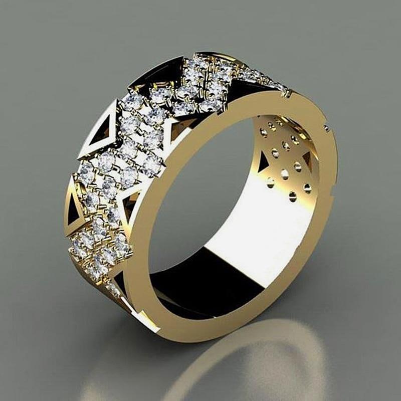 De Lujo círculo redondo de Color oro de los hombres anillo de dedo 2019 moderno de cristal CZ para bodas banda joyería de anillos de campeonato Hip Hop Z3M132