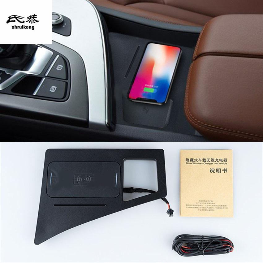 Car Mobile phone 10W QI wireless charging Pad Module Car Accessories For 2017 2018 Audi Q7 4M