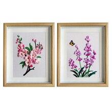 2pcs/set Lavender Flower DIY Ribbon Embroidery Cross Stitch kit Needlework Sewing Painting Stitching Craft Gift Home Decor