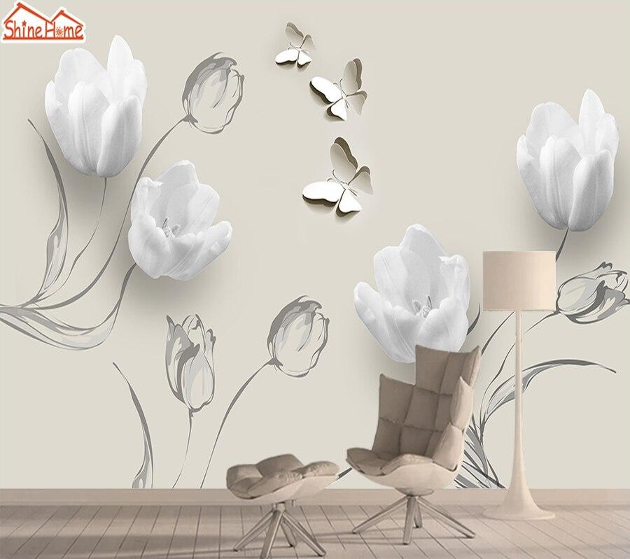 Papel tapiz Mural 3d de tulipán papel tapiz de pared de contacto decoración del hogar papeles de pared de fotos para sala de estar rollos de murales autoadhesivos paredes
