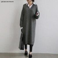 Korean Fashion Sweater Dress Women 2020 Autumn Winter Low High Design Side Slit Thick V Neck Knitted Dresses Ladies robe pull