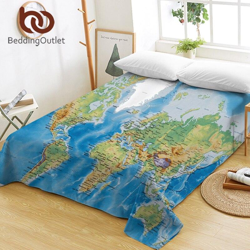 Beddingoutlet mapa do mundo lençóis de cama vívido impresso azul folha plana oceano roupa de cama microfibra sofá capa multi usos gêmeo rainha