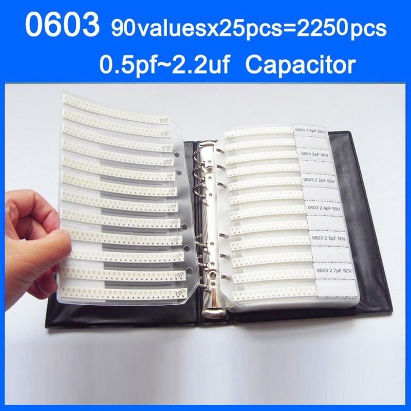 0603 SMD Capacitor Sample Book 90valuesX25pcs=2250pcs 0.5PF~2.2UF Capacitor Assortment Kit Pack
