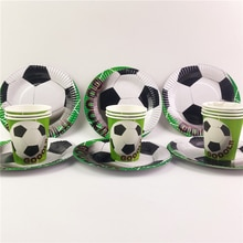Football Football thème fête fournitures ensemble 20 pièces tasses + 20 pièces plaque enfants faveur garçons joyeux anniversaire fête décoration