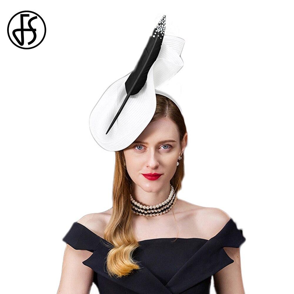 Fs fascinators para mulher elegante sinamay pillbox chapéu vintage igreja fedora preto cinza senhoras casamento com pena cocktail chapéus