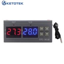STC-3018 controlador de temperatura Digital 110V 220V termostato de la incubadora C/F 10A/240V relé salida termorregulador calefacción refrigeración