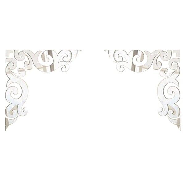 Diagonal, línea de esquina, espejo acrílico, pegatinas de pared Diy, decoración del hogar, adhesivo decorativo acrílico (Plata)