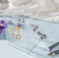nice transport 100 acrylic jewelry box earring holder jewellery organizer necklaces stand can hold about 135 pairs high quality