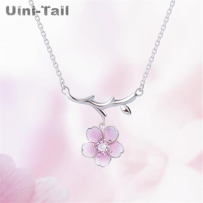 Collar uini-tail 2019 Nueva inclusión Plata de Ley 925 simple temperamento Rosa cereza moda coreana dulce collar de cereza rosa