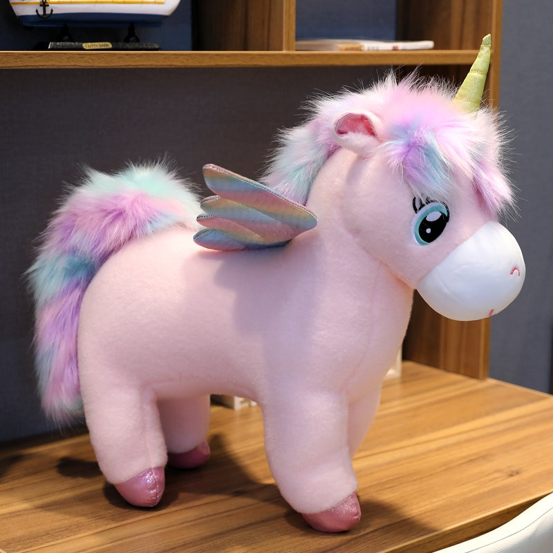 30 ~ 80cm únicas alas brillantes unicornios de peluche unicornio gigante peluches muñeca pelo mullido caballo volador juguete para regalo de Navidad del niño