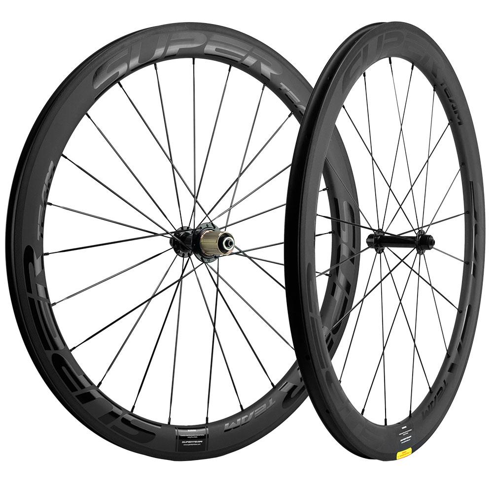 Juego de ruedas de carretera superequipo 700C con ruedas de carbono de 50mm en forma de U, juego delantero + trasero