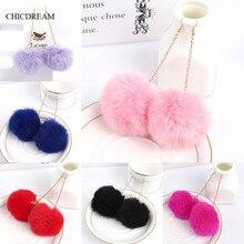 Genuine Real Rabbit Fur Pom Pom Ball Dangle Earrings 6cm Pom Pom 7 Colors Drop Earrings Cute Christm