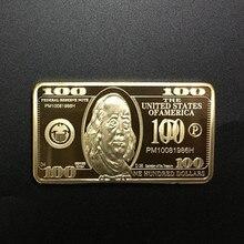 Badge plaqué or 100 1 once 24K   En or véritable, 50x28mm, barre à pièces souvenirs 1 pièce