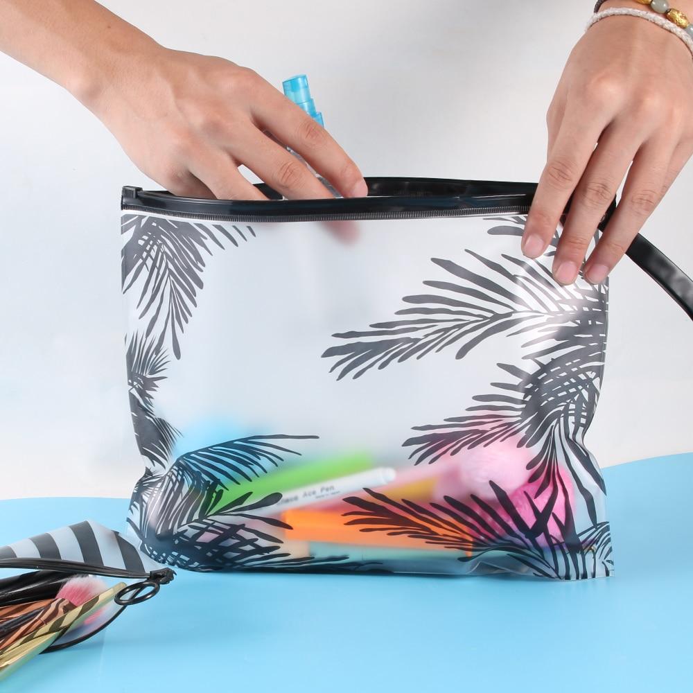 Estuche de lápices transparente de estilo Tropical, organizador de papelería, bolsa de documentos, carpeta de archivos, bolsa de cosméticos, bolsa de aseo para maquillaje