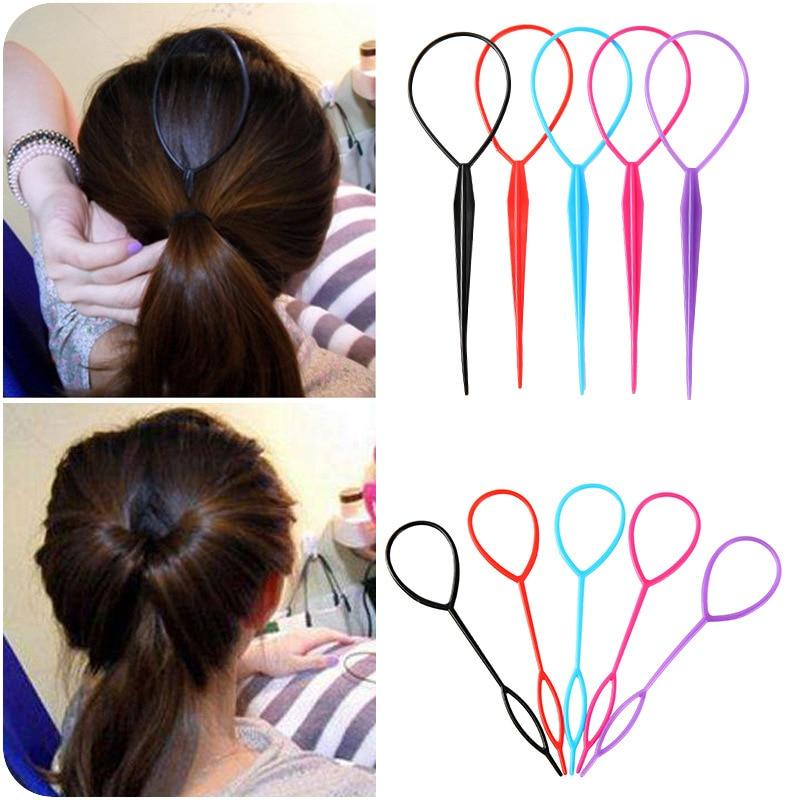 2 Pcs/Set Plastic Hair Loop Styling Tool Ponytail Braid Maker Loop Pull Hair Needle For Women Girls DIY Hairstyles Magic Clip