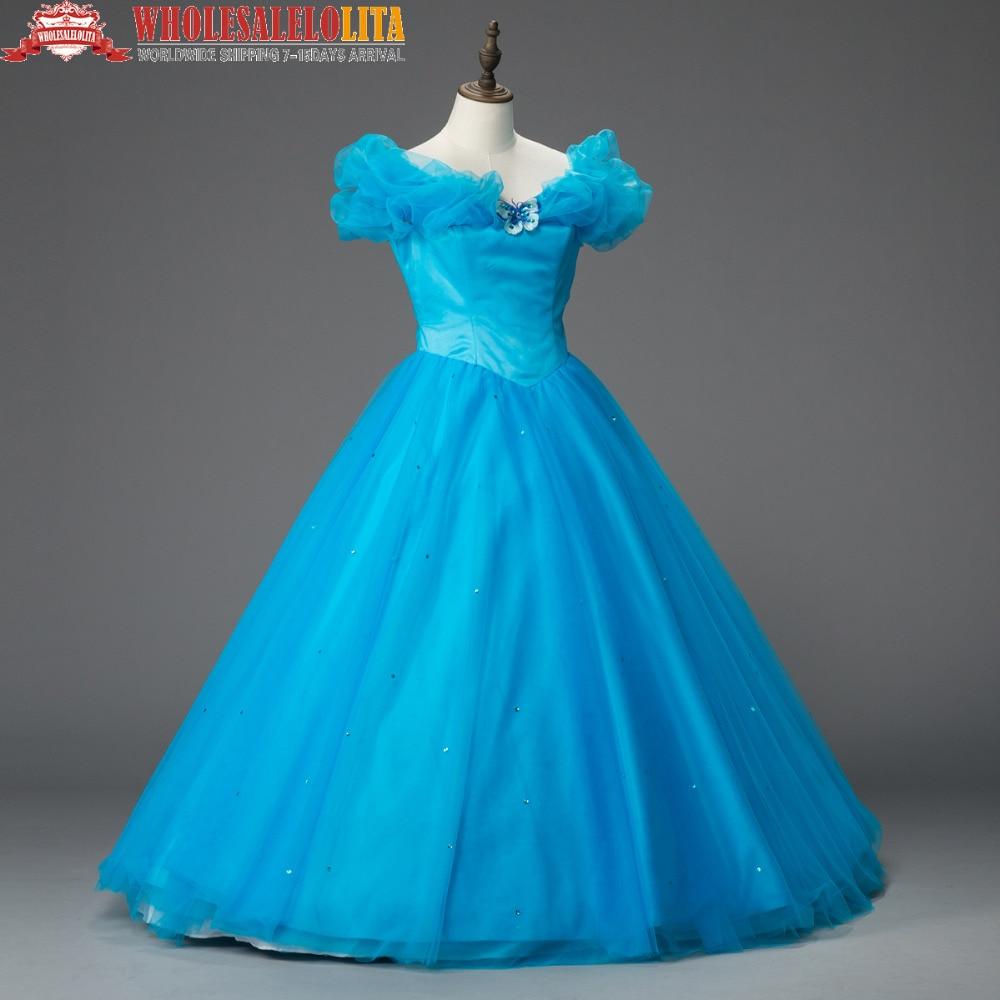 Movie Deluxe Blue Adult Girls Cinderella Quinceanera Dress Cosplay Costume