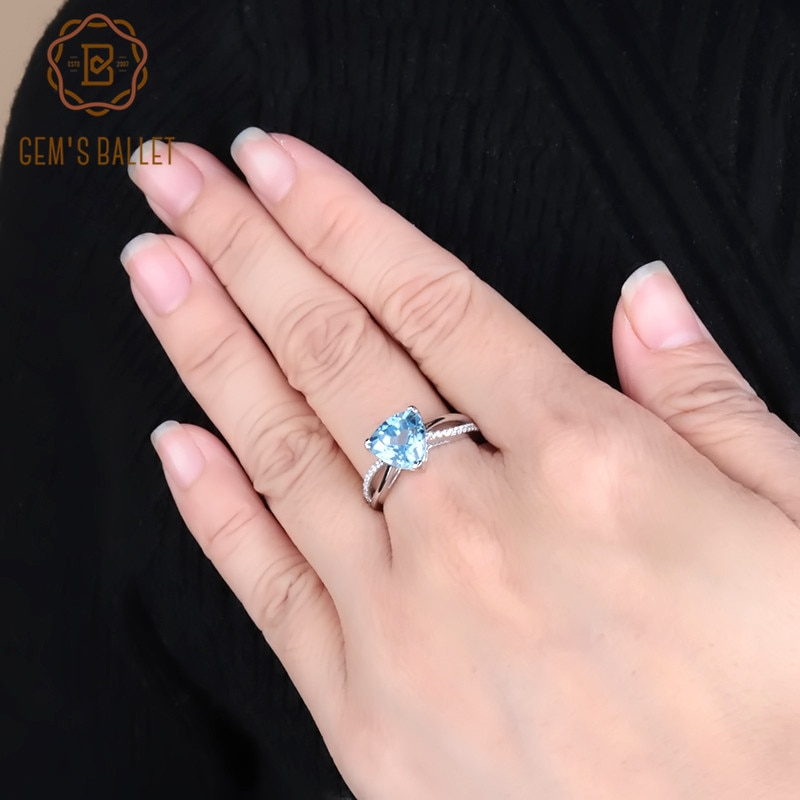 Gem ballet s ballet 925 prata esterlina vintage cocktail anéis 3.08ct céu natural azul topázio anel de pedra preciosa para mulheres jóias finas