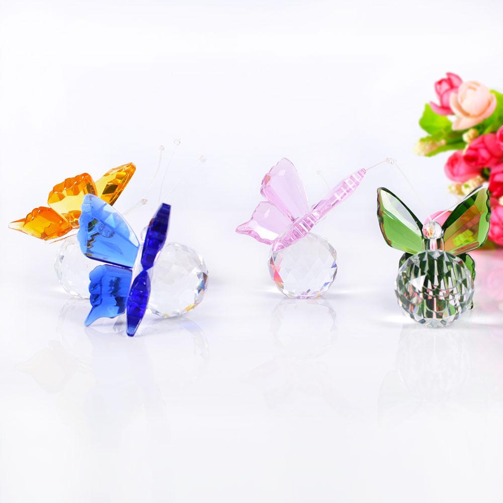 Estatuillas de animales de vidrio hechas a mano de cristal mariposa en 4 colores miniaturas regalos de modelismo decoración del hogar Accesorios regalo de boda