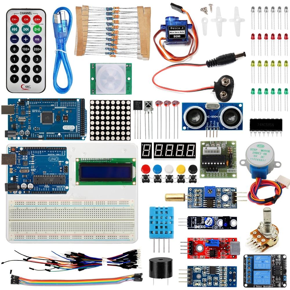 Starter Kit For Arduino UNO R3 &Mega2560 Board for LED 1602 LCD Servo Motor Relay Sensor Module Learning Basic Suite /USB Cable