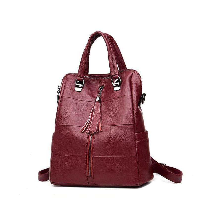 Women Multifunction Backpack Leather Tassel Shoulder Bag Large Capacity Backbag Female School Bag Girl Travel Bag Mochila B346