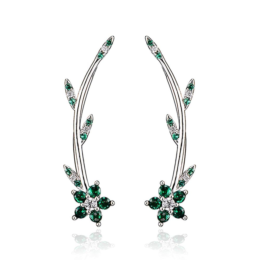 Pendientes de plata esterlina 925 para mujer, joyería india, Boho, estilo coreano, piedra de circón, forma de flor verde, regalos de fiesta de navidad