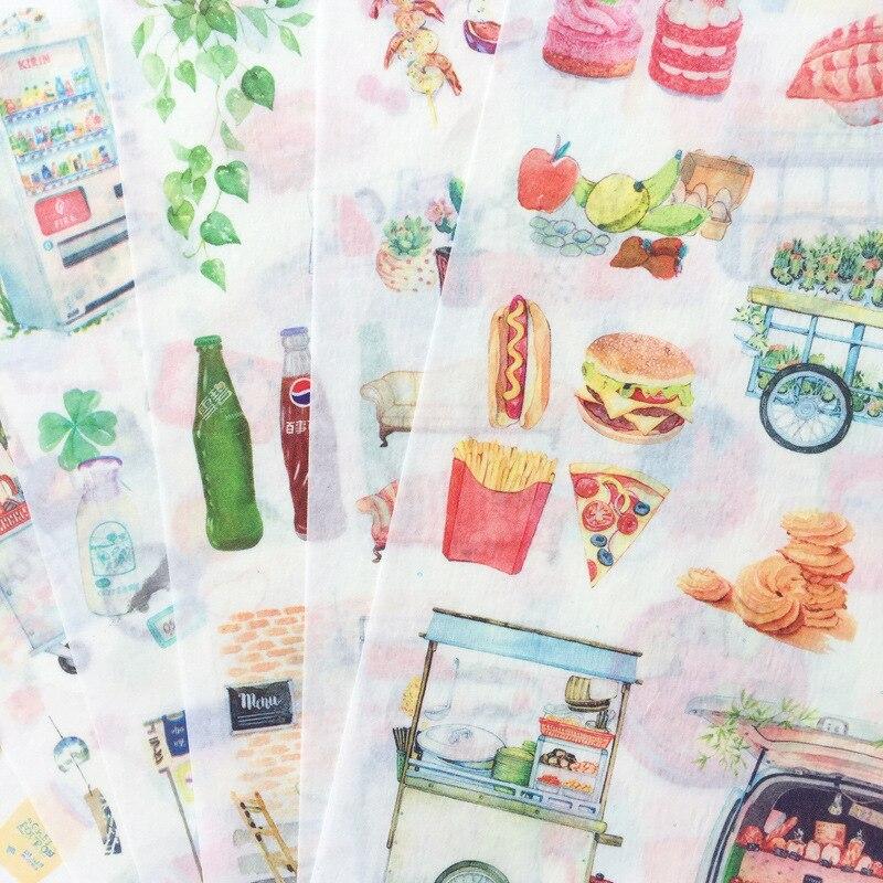 Pegatina de papel para decoración de comida de vida lenta álbum de recortes diario etiqueta adhesiva Kawaii pegatinas estáticas coreanas