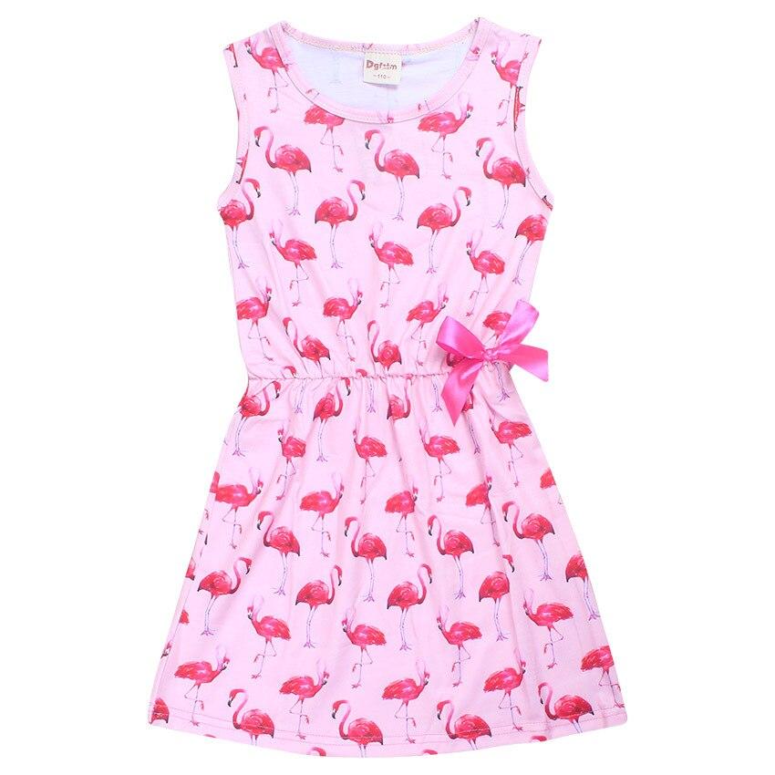 Flamingo Girl Dress Summer Sleeveless Dresses for Girls Children's Teenager Designs Swan Baby Kids Clothes Princess Dresses