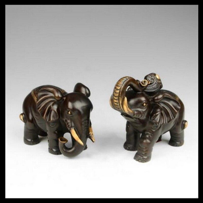2 unids/par de ornamentos de elefante de cobre puro para el hogar Decoración Fengshui artesanías de regalo adornos de bronce