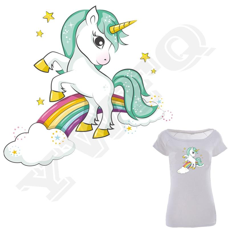 Iron-On Transfer Unicorn Rainbow Print On T-Shirt Clothes Decoration Diy Accessory Washable New Design Appliques