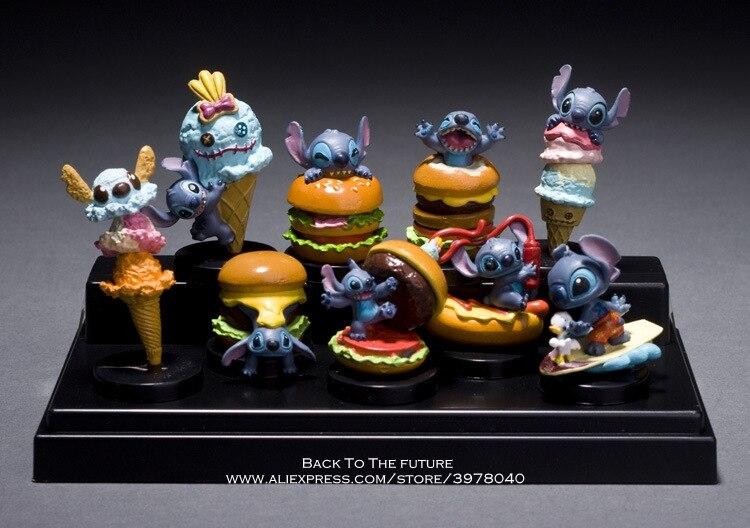 Disney Lilo & Stitch 9pcs/set 3-5cm Action Figure Posture Anime Decoration Collection Figurine Toy model for children gift