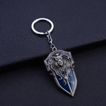 Porte-clés de Lion du monde des Warcraft   Jeu de WOW, porte-clés en argent Antique, tête de roi, breloques en alliage de cuivre, pendentif de clé Chaveiro