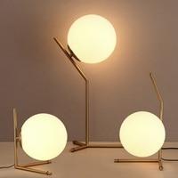 LukLoy Modern Nordic Creative Table Lamp Bedroom Bedside Modern Minimalist Glass Ball Metal Table Desk Lamp with LED Light Bulb