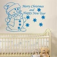 Autocollants muraux joyeux nouvel an M404  citation avec un joli petit bonhomme de neige  Sticker de joyeux noel  pour la maison  chambre a coucher  doux decor de vacances