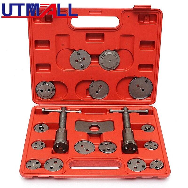 18 Uds Kit de herramientas de pistón de freno de calibre Universal, almohadilla trasera de viento de rebobinado de frenos de disco con estuche para Volkswage AUDI FORD BMW E46 Citroen
