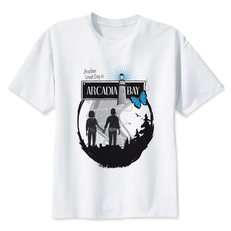 Мужская футболка Life Is Strange Arcadia Bay, белая футболка с круглым вырезом, MR1160