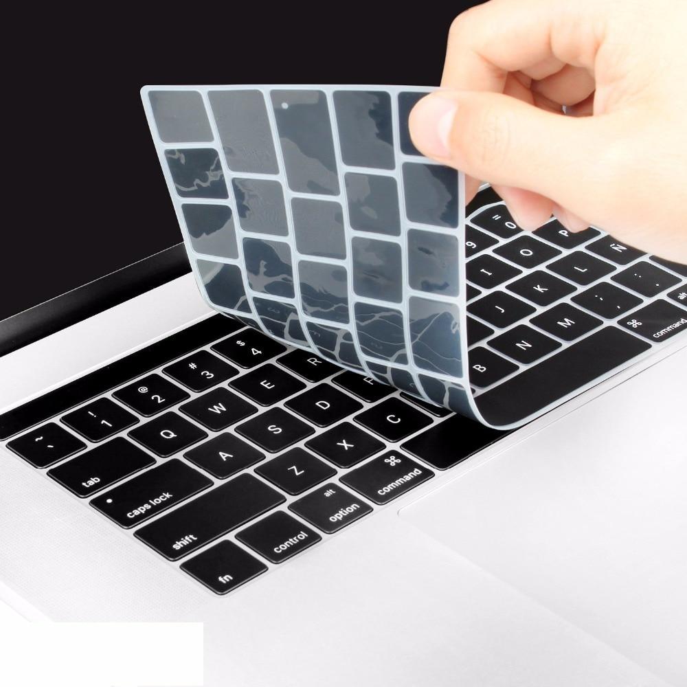 Funda protectora de teclado español UE España para MacBook nuevo Pro 13 15 con barra táctil A1989 A1990 2018 A1706 A1707
