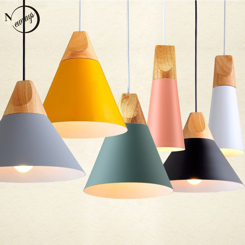 6 اللون وجيزة الشمال بسيطة قلادة مصباح E27 LED الحديثة شنقا ضوء ل وفت غرفة نوم غرفة المعيشة الطعام غرفة المطبخ مقهى