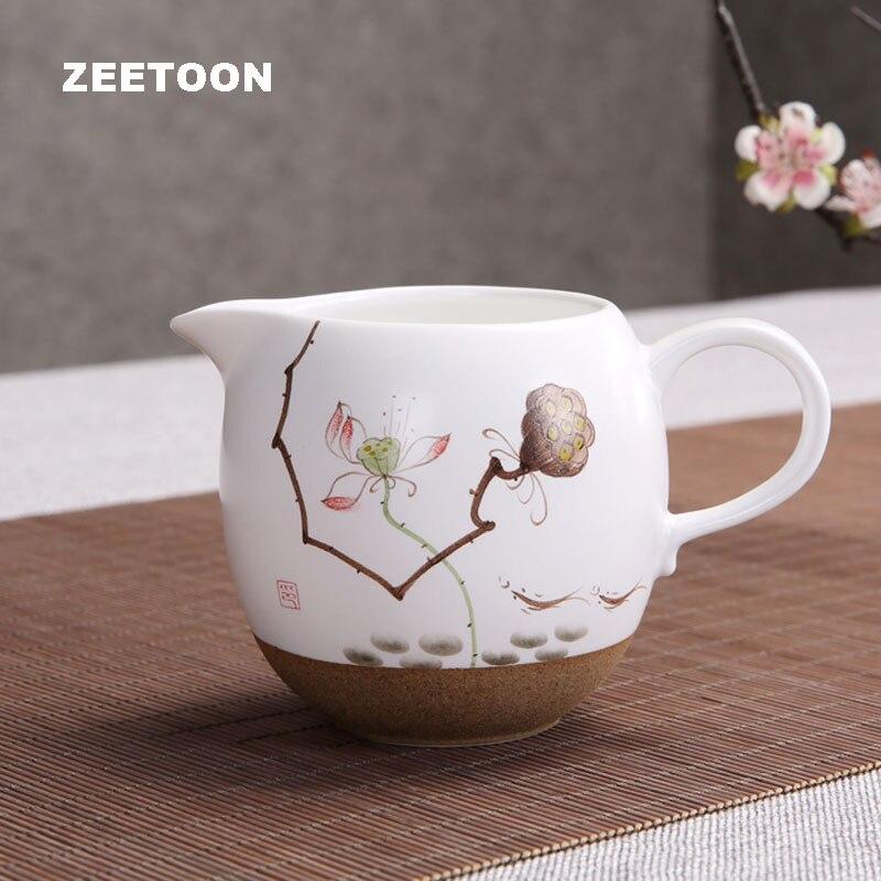 Taza de loto pintado a mano de cerámica gruesa japonesa, juego de té Kung Fu, juego de té, taza de té Chahai, adorno creativo para el hogar