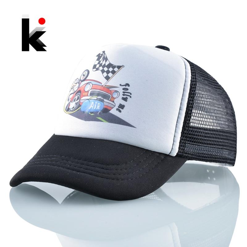 Gorras de Baseball para niños y niñas, visera del sol sombreros para niños, gorra de dibujos animados para coche, gorra ajustable de malla transpirable para exteriores para verano