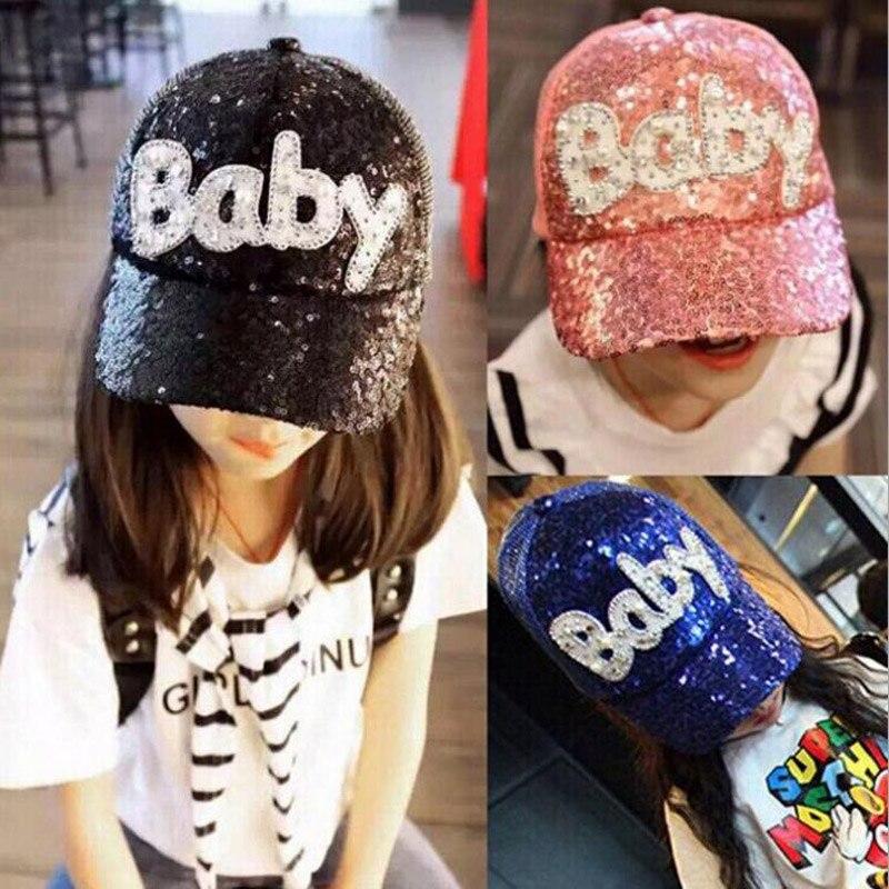 2016 coreano lantejoulas letras do bebê de malha cap crianças hip hop do boné de beisebol verão chapéu de sol meninos meninas snapback tampas