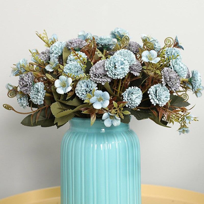 5 вилок, 11 головок, искусственные цветы, шелковые букеты гвоздики, Рождественский домашний декор, искусственные цветы для Дня матери, подаро...